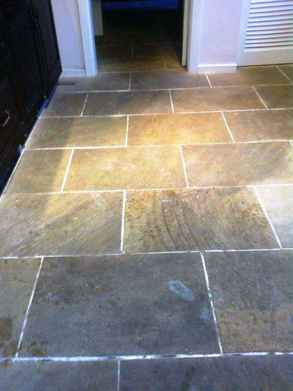 Indian Sandstone Floor Macclesfield Before Cleaning