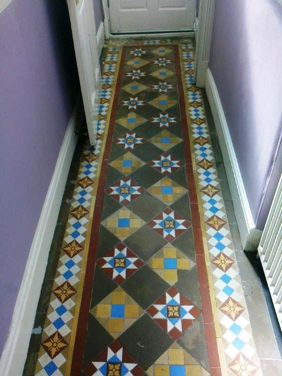 Victorian floor Tiles Chester after cleaning