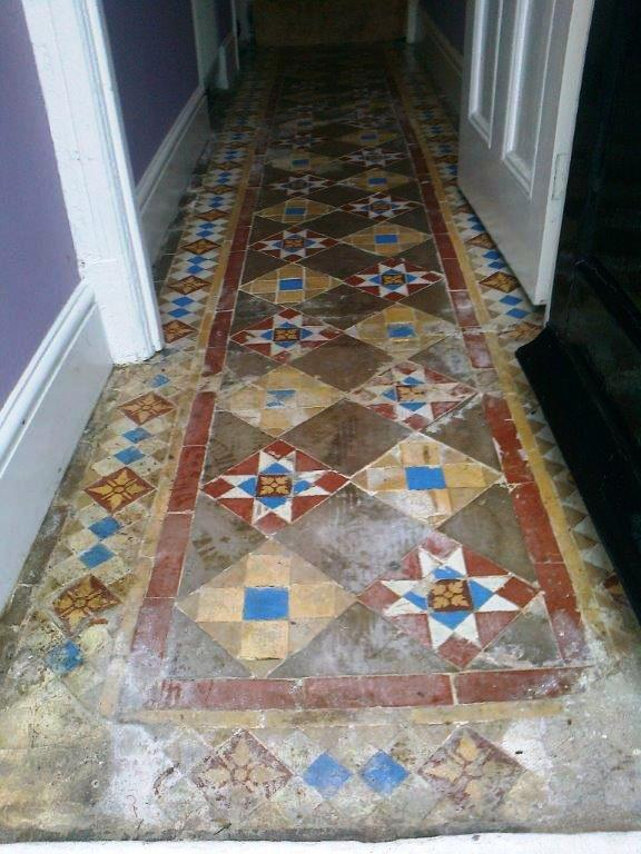 Victorian floor Tiles Chester before cleaning