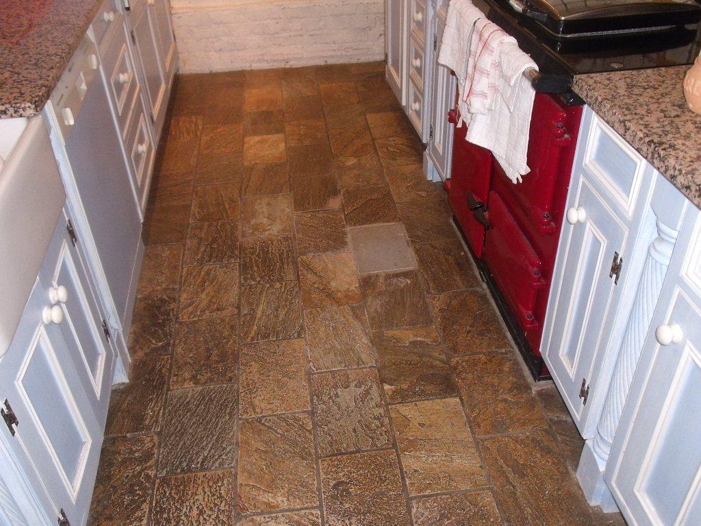 Chinese slate floor Hale Barns Cheshire before