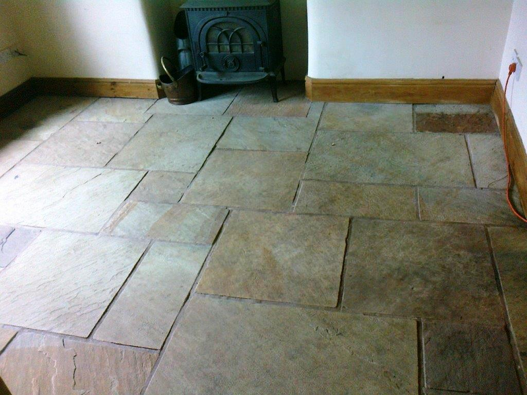 Sandstone Floor Bramhall Before Cleaning