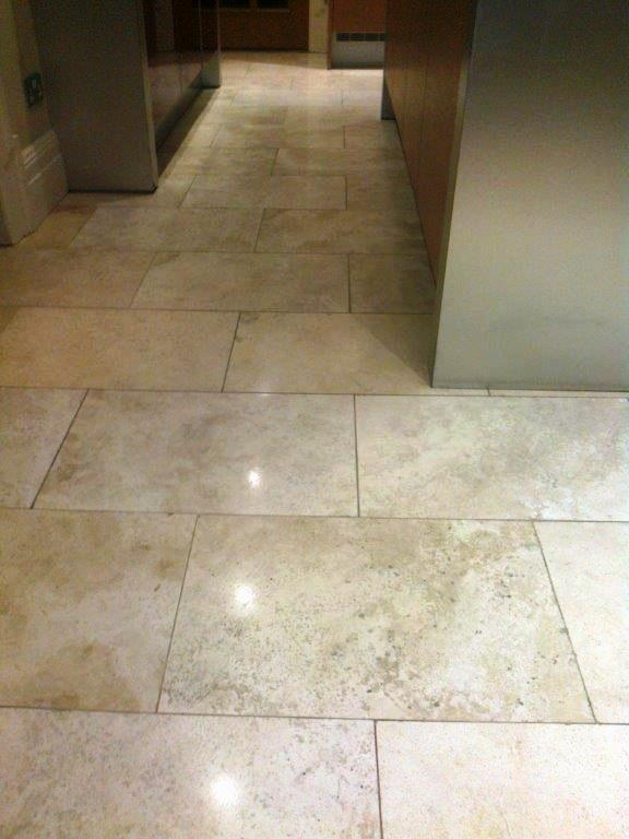 Travertine tiled kitchen floor Holmes Chapel After