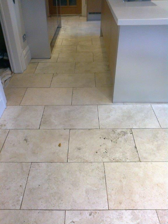Travertine tiled kitchen floor Holmes Chapel Before
