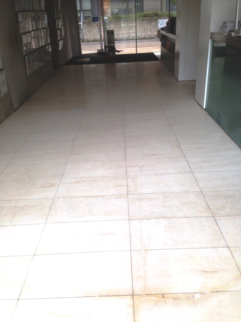 Damaged Limestone Tiled Floor in Wilmslow After