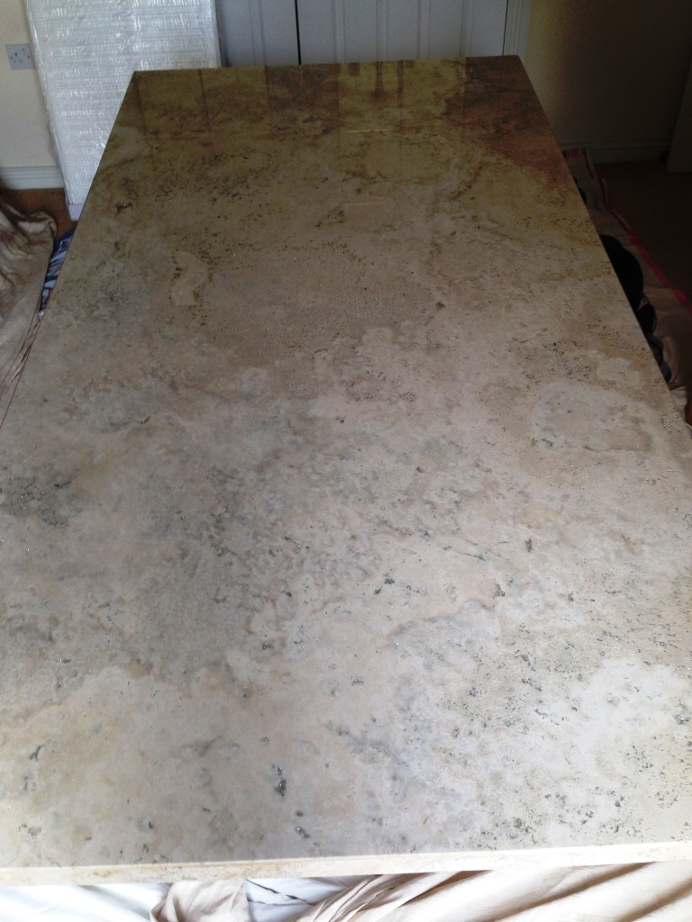 Marble kitchen worktop Prestbury before