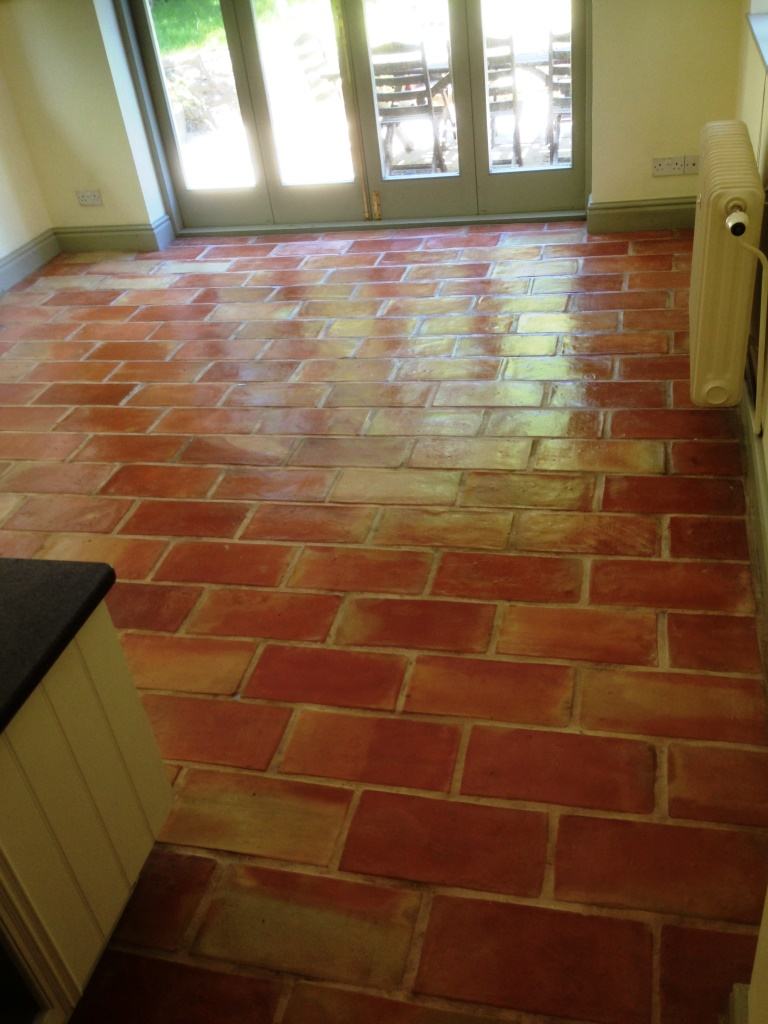 Terracotta brick tiled floor after in Alderly Edge