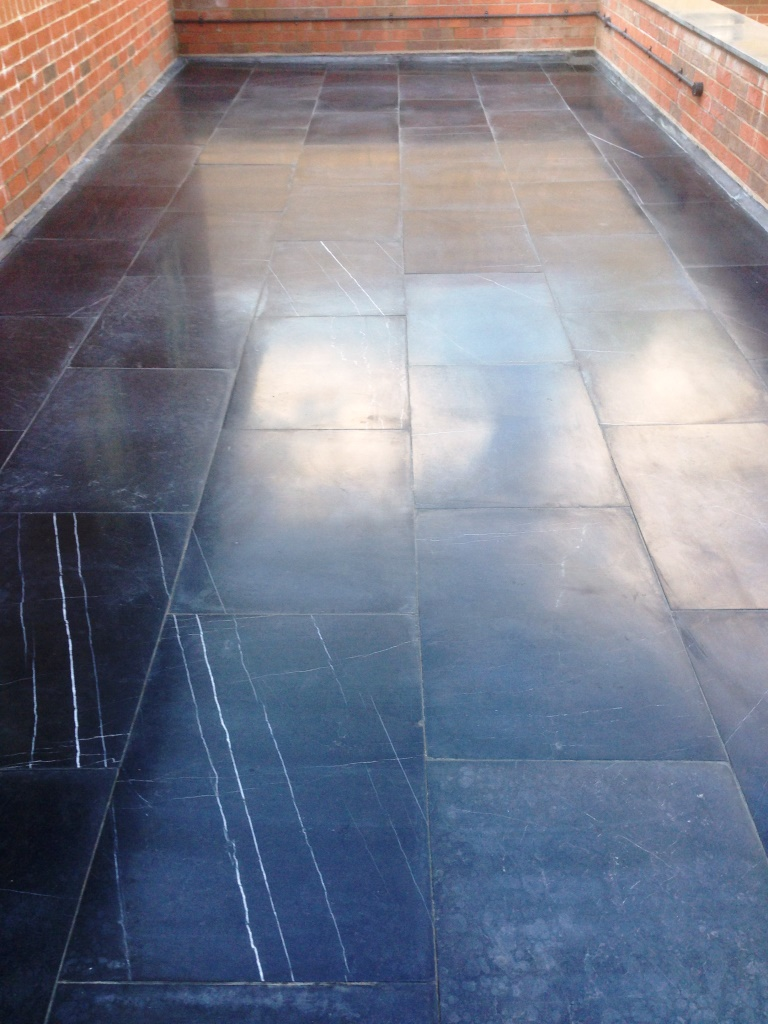 Limestone Patio After Cleaning Alderly Edge