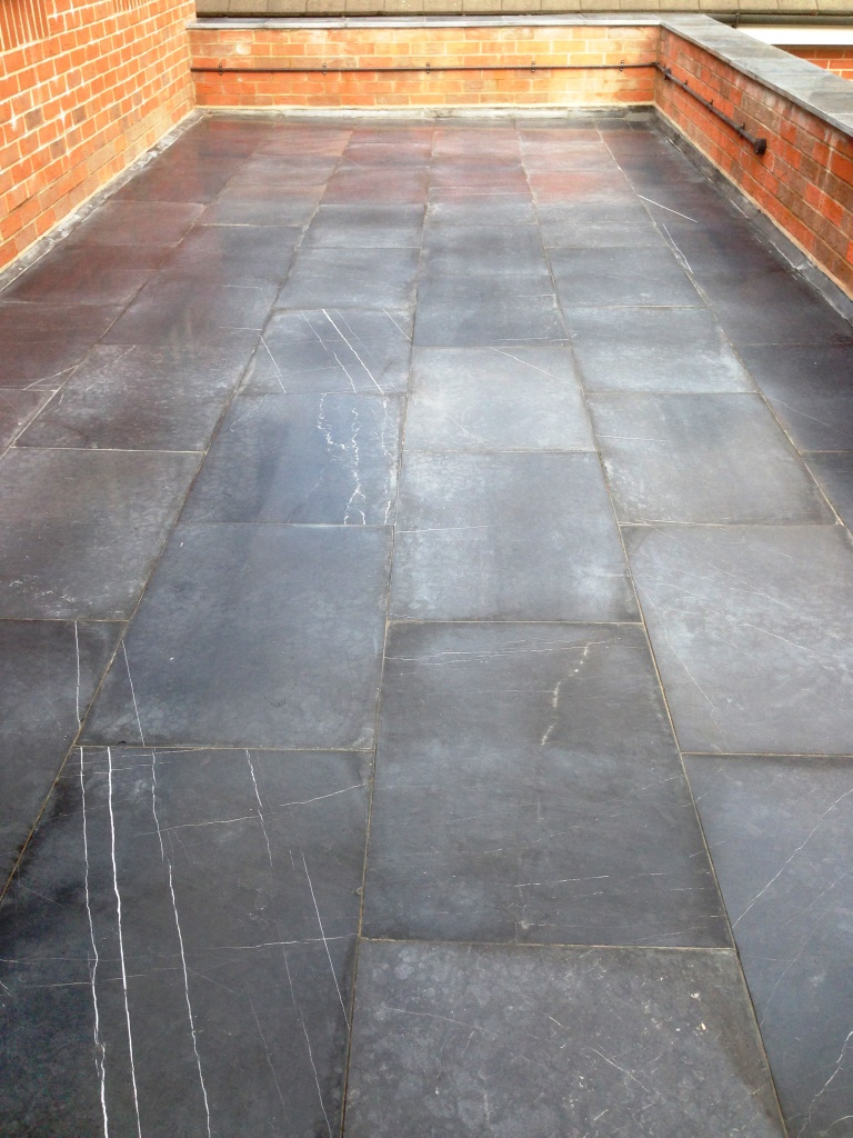 Limestone Patio Before Cleaning Alderly Edge