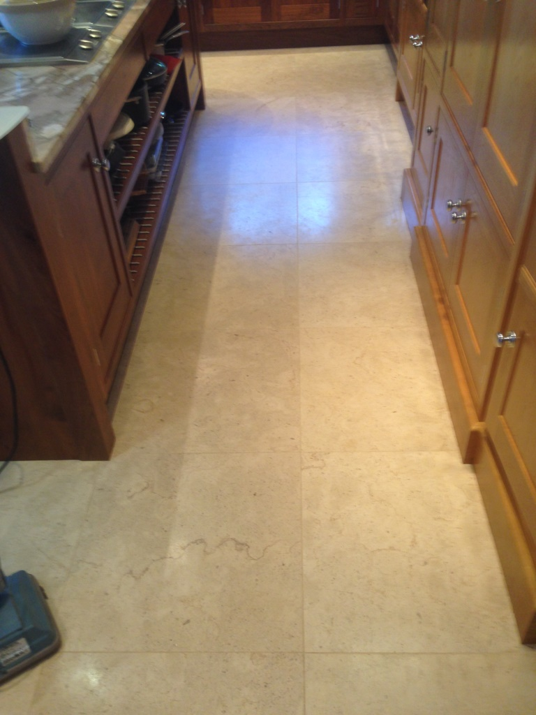 Travertine Tiled Floor Before Refurbish Wilslow