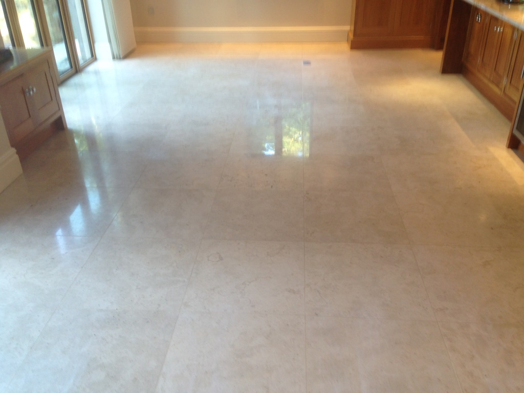 Travertine Tiled Floor Before Refurbish Wilslow